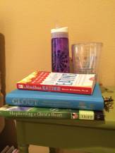 Actual books on my nightstand.